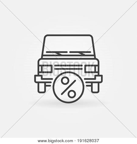 Car leasing icon - vector car with percent symbol in thin line style