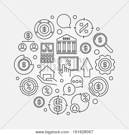 Finance round thin line illustration. Vector loan or mortgage business concept circular outline symbol