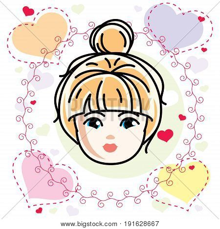 Vector illustration of beautiful blonde girl face positive face features romantic style clipart.