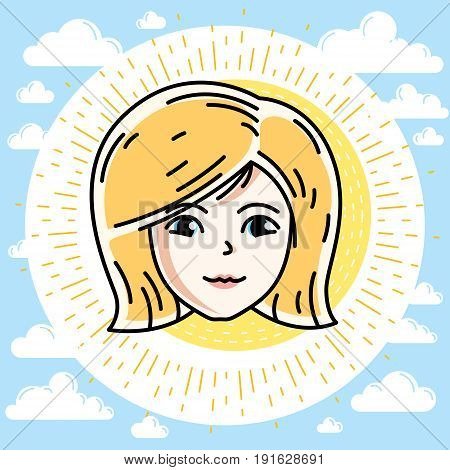 Woman face human head. Vector character beautiful blonde female portrait with stylish haircut.