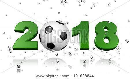 3D illustration of Lots of Tiny Footballs raining on a 2018 design with a white background
