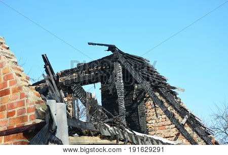 Brick House Roof Fire Damage. Old Home Burns Down.