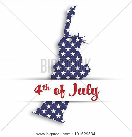 Statue of Liberty paper cutting in card pocket with label of 4th of July. United States symbol in national colors with stars and Independence day theme. Vector illustration.