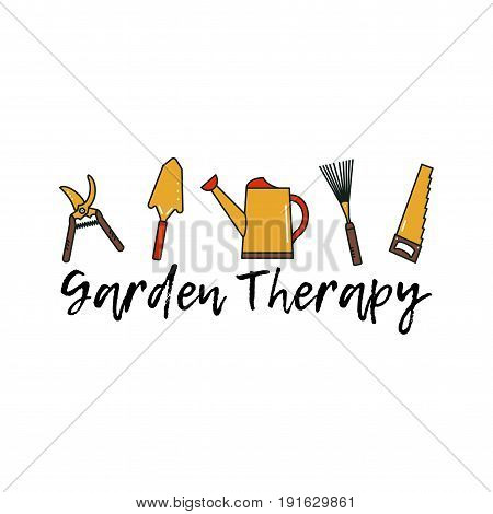 Gardening tools. Isolated garden equipment on white background. Vector spade, saw, secateurs, lawn rake. Designed with text Garden therapy.