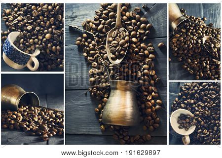 Collage of coffee. Collage of different photos of coffee.