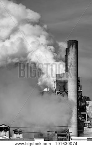 Harmful CO2 emissions from a paper factory contributing to carbon pollution