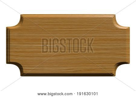 Wood texture plaque or sign background with concave corners isolated on white, 3D rendering