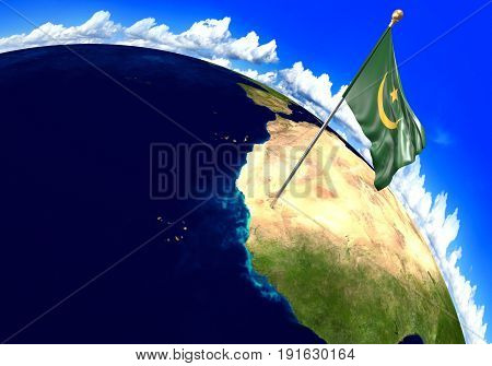 Mauritania national flag marking the country location on world map. 3D rendering, parts of this image furnished by NASA