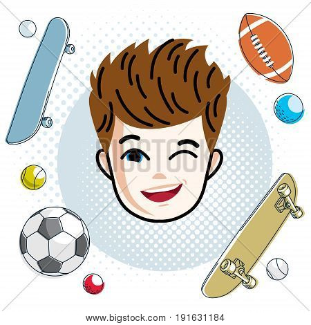 Cute boy face human head. Vector redhead character winking toddler face features sport and entertainment clipart.