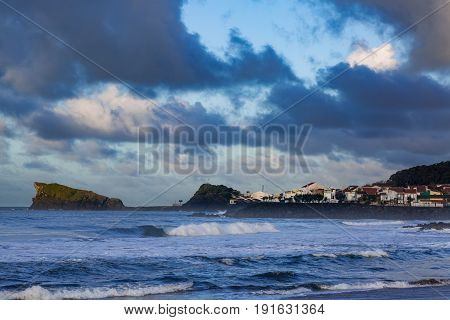 Coast Town Of Sao Rogue On The Island Of Sao Miguel