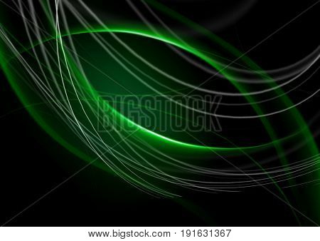 Abstract back lit green background with intersecting curving green strips