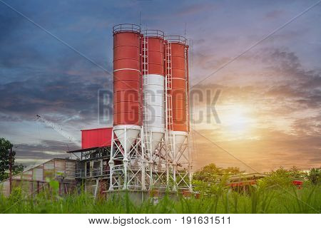 Concrete mixing plants Concrete mixing silo site construction facilities.