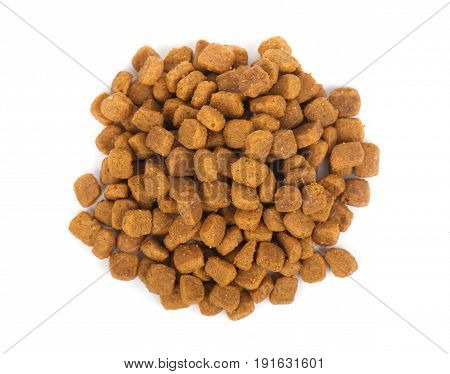 Dry dog and cat food, isolated on white background.