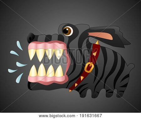 Angry black dog. Cartoon character. Vector Image