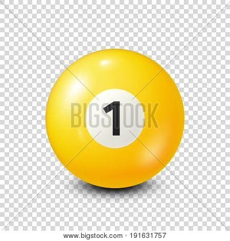 Billiard, yellow pool ball with number 1.Snooker. Transparent background.Vector illustration.