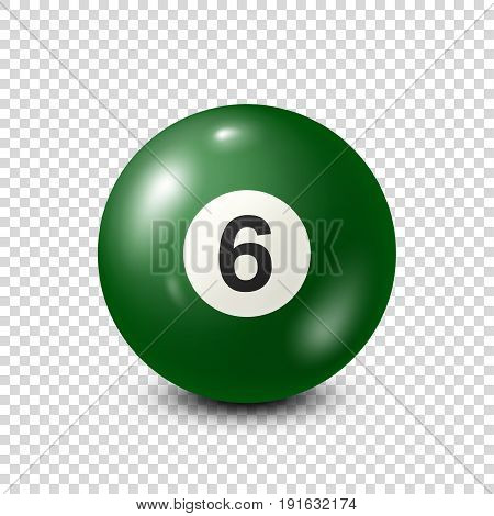 Billiard, green pool ball with number 6.Snooker. Transparent background.Vector illustration.