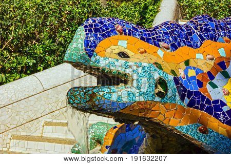 Barcelona, Spain - May 3, 2017: Lizard mosaic sculpture in Park Guell