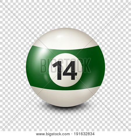 Billiard, green pool ball with number 14.Snooker. Transparent background.Vector illustration.