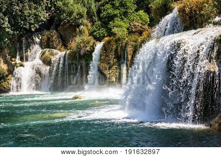 Waterfalls in Croatia Krka national park landscape