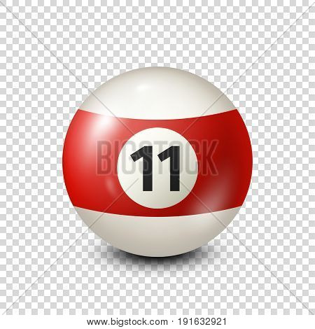 Billiard, red pool ball with number 11.Snooker. Transparent background.Vector illustration.