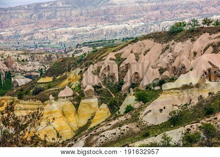 Rock landscape. Cappadocia, Turkey. Goreme national park.
