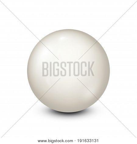 Billiard, white pool ball.Snooker. White background. Vector illustration.