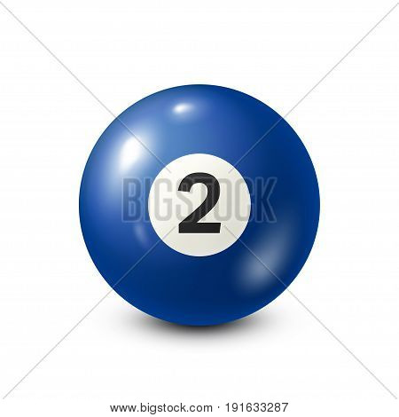 Billiard, blue pool ball with number 2.Snooker. White background.Vector illustration.