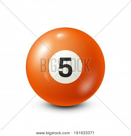 Billiard, orange pool ball with number 5.Snooker. White background.Vector illustration.