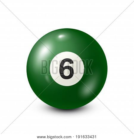 Billiard, green pool ball with number 6.Snooker. White background.Vector illustration.