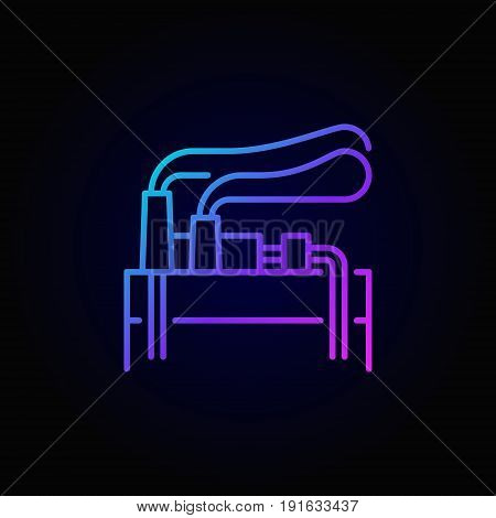 Geothermal energy linear colorful icon - vector geothermal power plant concept symbol on dark background