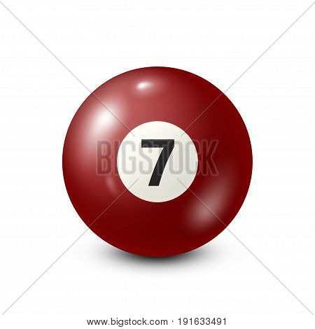 Billiard, red pool ball with number 7.Snooker. White background.Vector illustration.