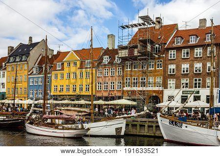 Copenhagen, Denmark - May 3, 2016: Seafront Nyhavn in the old center of Copenhagen
