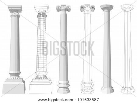 column. set of columns isolated on white background