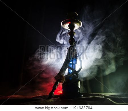 Hookah Hot Coals On Shisha Bowl With Black Background. Stylish Oriental Shisha