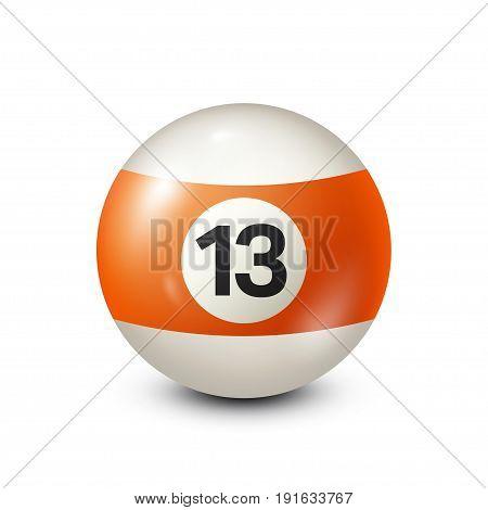 Billiard, orange pool ball with number 13.Snooker. Transparent background.Vector illustration.