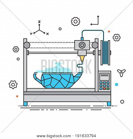 3D Printer lines design vector illustration. The printing process on the 3D printer Flat design with icon set.