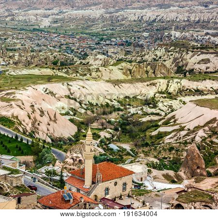 View on valley and mosque of town Goreme, Turkey