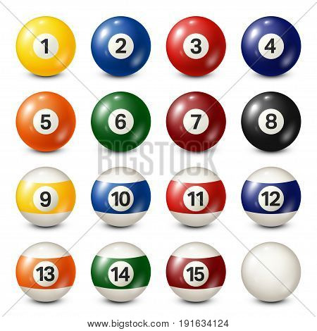 Billiard, pool balls collection. Snooker. White background. Vector illustration.
