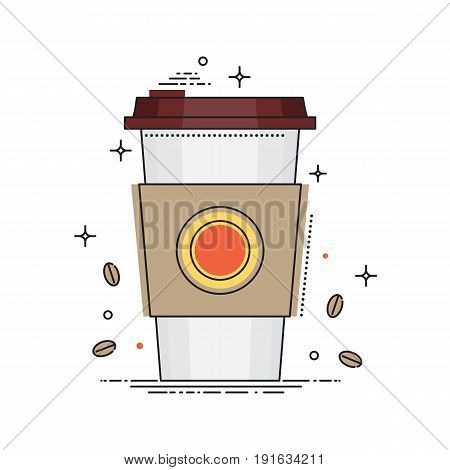 Disposable coffee cup icon with coffee beans, conceptual vector illustration in flat line design. Paper coffee cup isolated on white background.