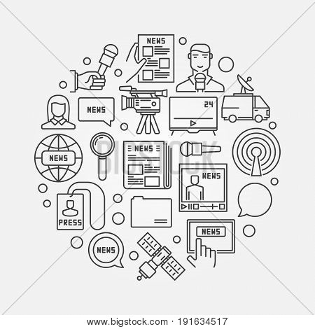 Outline news illustration. Vector round symbol made with newspaper, satellite, reporter, journalist, microphone and other line icons