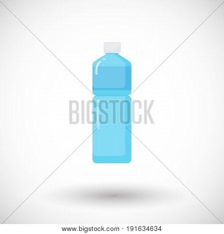 Bottle of water vector flat icon Flat design of food health care of watering object with round shadow plastic water bottle illustration