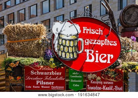 DRESDEN, GERMANY - JULY 27 2016: Dresden market Germany pothouse beer bar