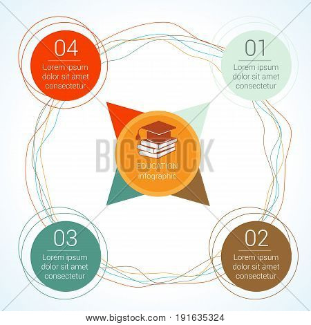 Template circular vector education infographic for presentation. Flat line chart with 4 options parts processes.