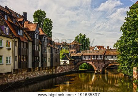 Nuremberg city historical houses landscape, Bavaria, Germany