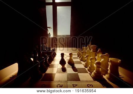 Chess Board Game Concept Of Business Ideas And Competition And Strategy Ideas Concep. Chess Figures