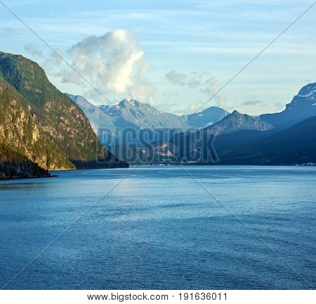 Seascape with mountains Geiranger fjord landscape, Norway