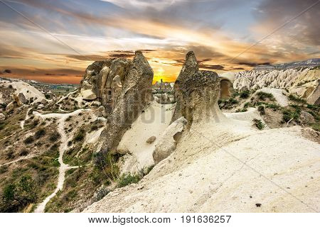 Cappadocia, Turkey. Sunset volcanic rock landscape, Goreme national park