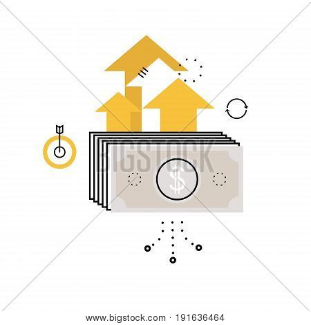 Financial investment, future income growth, revenue increase, money return, budget management, savings account, banking flat vector illustration design for mobile and web graphics