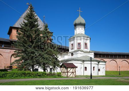 The Church of the Intercession of our Lady in the Kremlin of Veliky Novgorod on a sunny May day. Veliky Novgorod, Russia