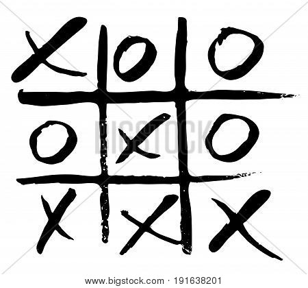 vector hand drawn noughts and crosses tic-tac-toe competition grungy brush illustration